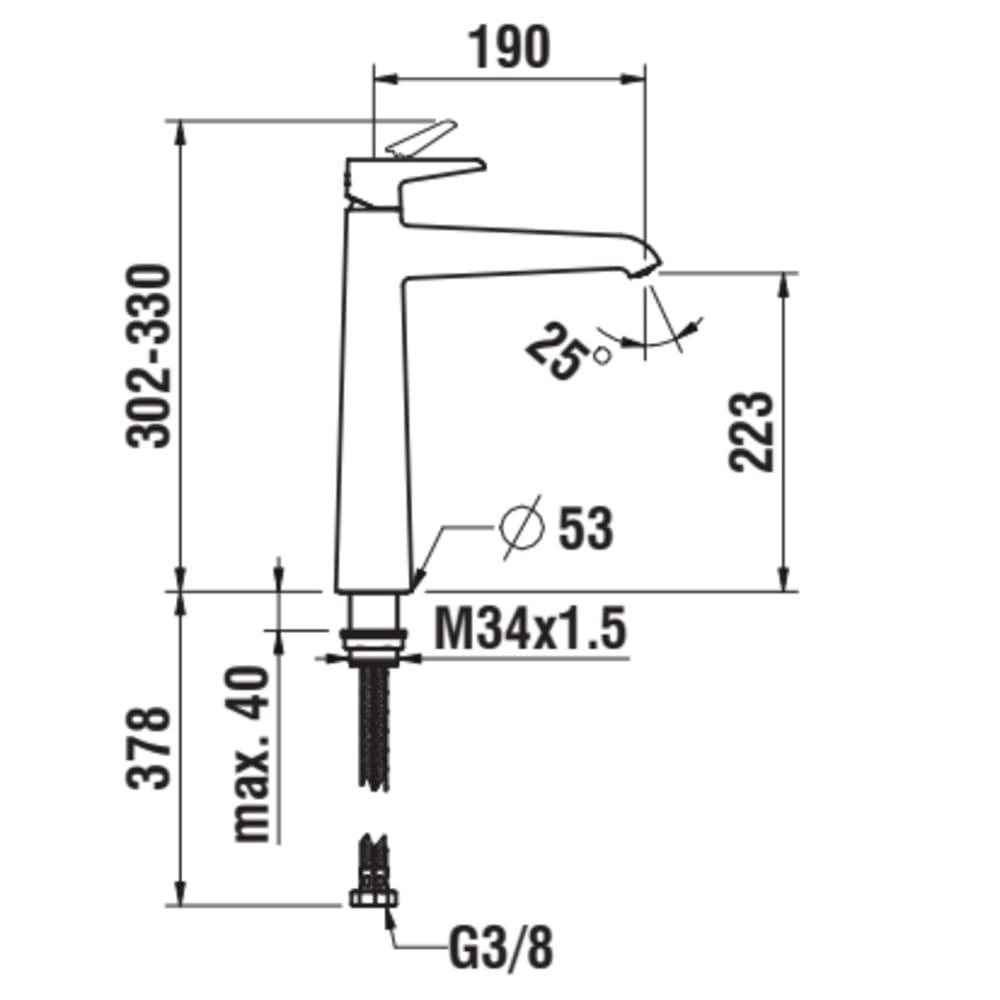 Column single lever basin mixer, projection 190 mm, Eco+