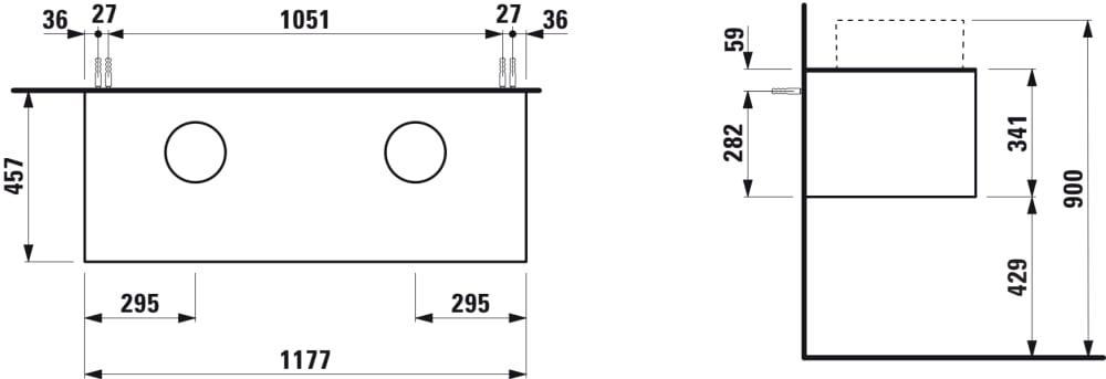 Drawer element, 1 drawer, matching bowl washbasins 812340