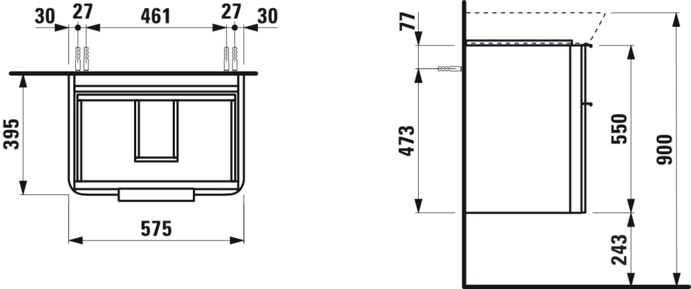 Vanity unit, 2 drawers, incl. drawer organiser, matching