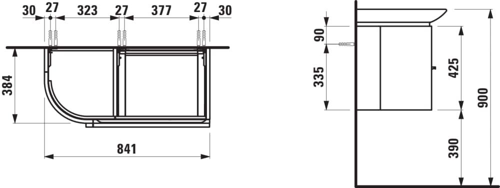 Vanity unit, 2 drawers, 1 door, left hinged, matches